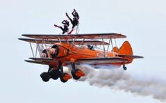 SE-BOG (1) and N74189 (2) (goweravig) Tags: sebog n74189 1 2 swanseaairport wnas18 visiting aircraft aerosuperbatics boeing steaman kaydt biplane wingwalkers swansea wale uk