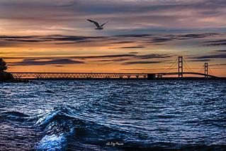 Bridge Flyby #mackinawbridge #sunset #ipulledoverforthis #awesomemitten #puremittigan #michiganphotographer