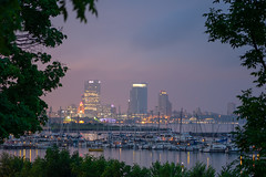 SouthShoreSkyline (jmishefske) Tags: 2018 d850 nikon lakefront water club city south milwaukee weather shore morning misty dawn boats yacht cityscape wisconsin cityview july park lakemichigan skyline county downtown