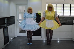 Barbie in baby blue and Katy in yellow 5 (sissybarbie1066) Tags: sissy maid sissymaid uniform baby blue satin yellow white