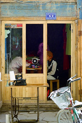 Kashgar Bazaar, Tailor Shop 1998 (peace-on-earth.org) Tags: peaceonearthorg xinjiang kashi kashgar china