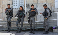 Band on a Guard (ybiberman) Tags: israel jerusalem alquds oldcity borderpolice police policemen soldiers rifle gun m16 candidportrait streetphotography people smartphone men woman adolescent
