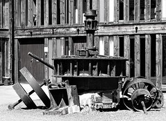 Parts from the sawmill on the site (B&W) (eucharisto deo) Tags: bakewell river wye dales derbyshire bw blackandwhite blackwhite bandw sawmill