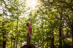 Basking in the first day of summer (Elizabeth Sallee Bauer) Tags: nature active beautyinnature boy child childhood children curious discovery exploration fun kid nonurbanscene outdoors outside playing woods youth