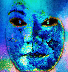 Eyes of Darkness (Southern Darlin') Tags: me art vangogh blue manipulation photography photo portrait people texture conceptual emotive weird odd woman overlay