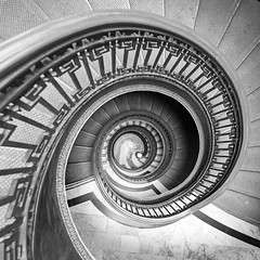 Downward Spiral (vtom61) Tags: stairs spiral staircase sanfrancisco fujixt20 fujixf16mm14 mechanicsinstitute