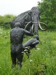 People Before People & Woolly Mammot, Bronze, 2009 (jacquemart) Tags: nze felixdennis garden statue gardenofheroesandvillains warwickshire peoplebeforepeoplewoollymammot bronze 2009