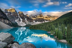 Moraine Lake (vaibhav.pandeys) Tags: outdoors morainelake alberta canada reflection water lakes clouds mountains wild nature travel nikon longexposure