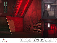 NEW! Redemption Backdrop @ EQUAL10 (Bhad Craven 'Bad Unicorn') Tags: red lights neon graffiti stairs staircase robbo king sprayed urban broken cross window bhad • craven second 2l life lindens profile picture photography bad unicorn badunicorn clothing buc bu secondlife graphics gfx graphic design photos pics photo sl mesh exclusive store blog shadows high quality decor production portrait image hd definition original meshes meshed 3d game characters art gaming concept concepts new top work progress wip