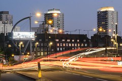 Bow flyover at night (Amer Ramzan) Tags: bow london colour lighttrails flyover road nightphotography night eastlondon stratford