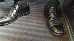 Hidden Camera - Wingtips in the train 03 (TBTAOTW2011) Tags: daddy dad mature old businessman business man black leather dress shoe shoes feet foot hidden camera candid public transport sitting wingtip wingtips socks