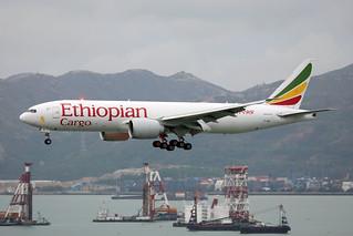 Ethiopian Cargo B777-200F ET-APU landing HKG/VHHH