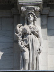 Mysterious Woman Dame Autumn Caryatid NYC 5420 (Brechtbug) Tags: mysterious woman dame autumn caryatid stone ladies courthouse roof statues across from madison square park new york city atlantid 2018 nyc 07152018 art architecture gargoyle gargoyles statue sculpture sculptures facade figures column columns court house law government building lady women figure form far east buildings season seasons fall