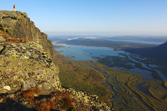 2015 / Day 8 / View of Rapadalen delta from Skierffe mountain (Northern Adventures) Tags: sarek sareknationalpark nationalpark sweden sverige north deepnorth lapland lappland sápmi sapmi autumn fall september view vista overlook viewpoint rapadalen skierffe hike hiking walk walking trek trekking track tracking backpacking wandering outdoors outdoor adventure scenic scenery nature serene