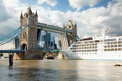 Will it Fit? (JamboEastbourne) Tags: tower bridge open london siver wind cruise liner big ship tug