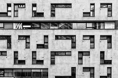 Tetris Facade (Leipzig_trifft_Wien) Tags: wien österreich at architecture black white bnw blackandwhite modern window structure urban city building contemporary design grey pattern form reflection