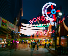 Coney Island Lights (GPhace) Tags: 120mm 90mmt38 boardwalk brooklyn coneyisland denoswonderwheel longexposure lunapark mamiya mediumformat nyc rb67pros sekor summer doubleexsposure nightphotography nightshots