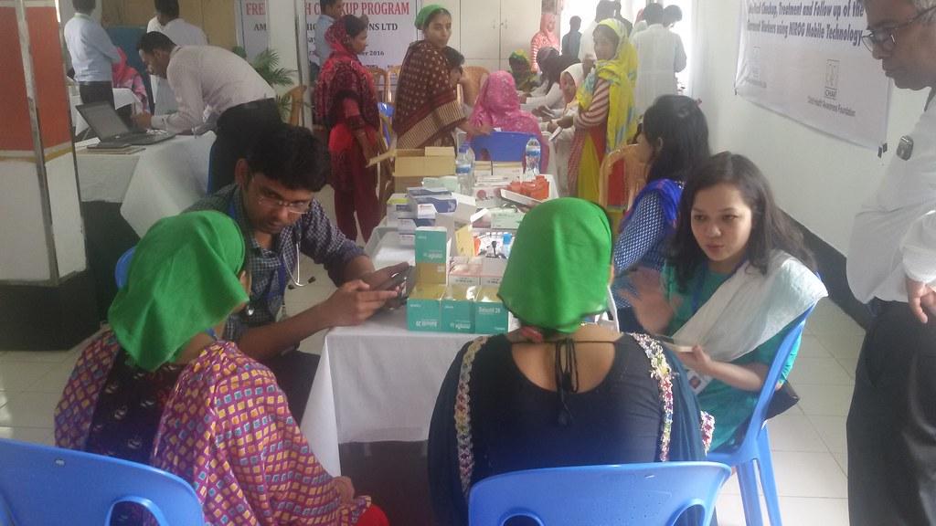 Doctors of HAEFA examining RMG workers in Mirpur, Bangladesh. photo: HAEFA