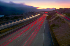 On Their Way Home (milton sun) Tags: trafficlighttrails lighttrails interstate280 route92 sanmateo lowfog foginsf longexposure dusk seascape bay ngc bayarea wave ocean shore seaside coast california landscape outdoor clouds sky mountain rollinghills evening sunset traffictrails summer