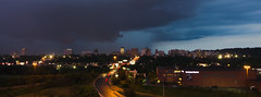 Downtown at the Storm (Umer Javed) Tags: hamilton ontario canada hamont cans2s cityscape hfg clouds storm thunderstorm city lights panorama panoramic sunset goldenhour weather rain rainy summer bleak dark dull drama mood road street urban metropolitan downtown canon canont3i eos600d wideangle niagaraescarpment architecture artsy artistic