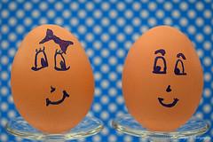 Flirty pose... (Maria Godfrida) Tags: 7dwf crazytuesdaytheme eggsactly eggs cute love duo pair couple two closeup funny flirting food