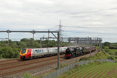 Old v New (Andrew Edkins) Tags: 60103 flyingscotsman a3class lner sirnigelgresley doubleheader lichfield westcoastmainline wcml railwayphotography travel blackfive lms stanier 45212 pacific staffordshire trentvalley canon june 2018 summer lakesexpress westcoast mainlinesteam steamtrain geotagged light voyager class220 virgin passenger overheadwires passingtrains trees railroad railway track england uk uksteam capperslane