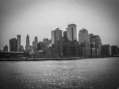 Financial District, Manhattan Island Cruise (bobbex) Tags: bigapple newyork newyorkbw manhattan bw blackandwhite blackwhite skyscrapers cityscape usa america brooklynbridge