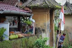 Penglipuran Village, Bangli, Bali (scinta1) Tags: bali balinesehindu bangli penglipuran village kampung desa traditional road street stall selling people flag indonesianflag merdeka