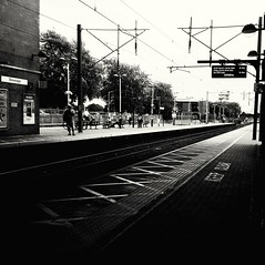 ...waiting (Elle Dd) Tags: stevenage uk trainstation train travel travelling bw highcontrast july summer photography greatbritain gb hertfordshire