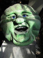 Green Cheese Man in the Moon 3886 (Brechtbug) Tags: green cheese man moon george melies type inspired by 1902 film le voyage dans la lune a trip scifi science fiction movie magic french early special effects space travel galaxy universe luna new york city 2018 night head paper mache