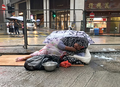 Overweight Homeless Woman (cowyeow) Tags: china street chinese asia asian 香港 hongkong sheungwan city urban composition sleeping candid people bank sad poor poverty women old fat overweight