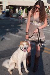 Woman and Dog (jwcjr) Tags: dahlonega dahlonegaga nga northga pentax smallcity smallcityga woman people dog lightshadow streetscene