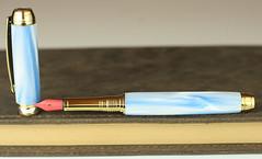 Pearl Sky Blue Fountain Pen - Bock Red Nib (BenjaminCookDesigns) Tags: fountainpen custom bespoke engraved personalised classic vintage artdeco style gift birthday christmas fpgeeks fpn giftforhim giftforher füllfederhalter