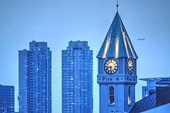22 Battery Park (albyn.davis) Tags: blue evening night buildings clock airplane nyc newyorkcity manhattan usa architecture light tower