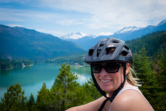 Tracey enjoying the view of Green Lake after cycling up.