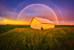 2018-06-19 (Gregg Kiesewetter) Tags: rainbow sunset clouds cloudsstormssunsetssunrises barn shed soybeans storms illinoisthunderstorms bloomington illinois weather weatherphotography rokinon8mmfisheye aurorahdr2018 onone rural heartland