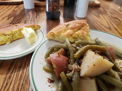 green beans and potatoes with cornbread (jeffreyw) Tags: cornbread greenbeans redpotatoes butter dinner boiled baked