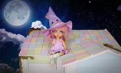 Midnight Flight #1 (Arthoniel) Tags: marshmallowchai lati latiyellow latidoll nana tan witch miniature tiny moon broom magic bjd balljointeddoll doll figure collection resin jointed sky