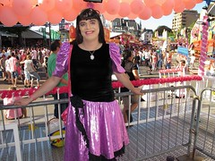 Pink Monday funfair (Paula Satijn) Tags: girl lady pink dress shiny fun happy smile joy metallic skirt sweet cute funfair outside