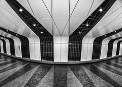 Stripes (Joseph Pearson Images) Tags: underground subway tube metro london kingscross statiion abstarct tunnel blackandwhite bw mono fisheye