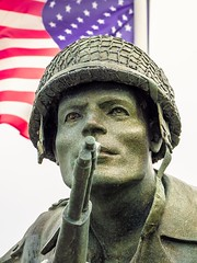"""Dick """"Band of Brothers"""" Winters memorial (Andy J Newman) Tags: 101st color france om us airborne bandofbrothers coloour colorefex company dday dick easy landings memorial normandy olympus richard statue winters saintemariedumont normandie fr"""