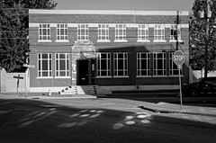throwing light (fallsroad) Tags: tulsaoklahoma city urban eastvillage blackandwhite bw monochrome architecture building reflection