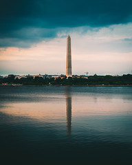 Washington's Gloomy Sunset (DChoi95) Tags: monument dc washington district columba cloud cloudy storm gloom gloomy clouds sky reflection basin tidal destination print wallpaper architecture travel america usa capital monumental nikon nikond3300