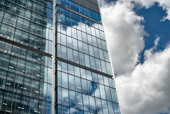 Cloudy Day (Sean Batten) Tags: london england unitedkingdom gb reflection architecture sky clouds city urban nikon d800 50mm window glass docklands eastlondon canarywharf lines