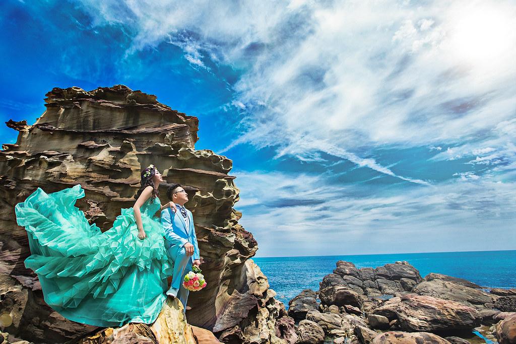 016婚紗攝影-婚紗照-九份-南雅奇石-海邊-藍天白雲