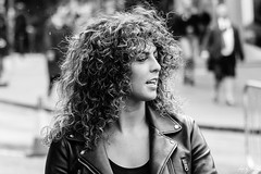 Curly Sue (Cycling-Road-Hog) Tags: blackwhite candid canoneos750d citylife colour efs55250mmf456isstm edinburgh fashion georgeivbridge monochrome people places scotland street streetphotography streetportrait style urban woman