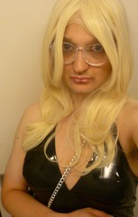 out to a bar (charlotteyorkscd) Tags: crossdresser sissy tv blonde slutty glasses specs leggings pvc halterneck bimbo makeup swag slaying