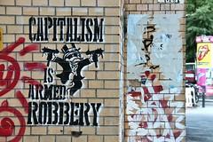 Armed Robbery (just.Luc) Tags: graffiti grafitti streetart urbanart protest think political letters lettres words mots woorden wörter robbery armed captialism kapitalisme berlin berlijn wall muur mur mauer allemagne deutschland duitsland germany europa europe