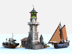phare + bateaux.lxf (Brick picker) Tags: shipyard boat captain daniel fishing lego vintage figurinescale figure modular dom river ocean ship bois wood moc afol ideas creator sailboat blue voilier bateau legocreation legomoc lighthouse phare