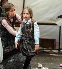 Siblings' Relationship (ybiberman) Tags: israel jerusalem meahshearim passover blond braids candid children girls people portrait sisters streetphotography tunic